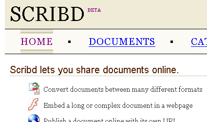 Scribd (beta) screenshot, 2006-11-02