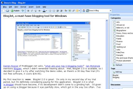 BlogJet 2.0 screenshot, 2007-03-14