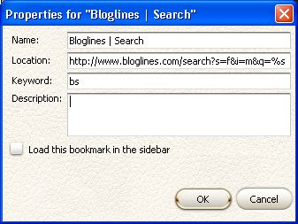 Bloglines 'search my feeds' Firefox quick search bookmark