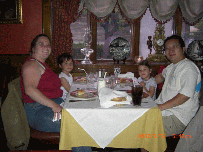 Our happy family, eating at Toros Restaurant in Clifton, NJ