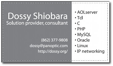 Dossy's LOLbusiness card, back