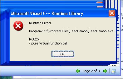 Reproducible FeedDemon crash bug screenshot