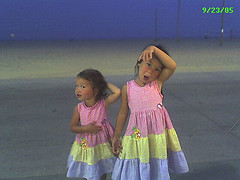My girls, making silly faces for the camera on the boardwalk in Ocean City, MD.