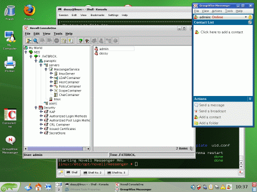 Screenshot of Novell ConsoleOne and GroupWise Messenger client running on OpenSUSE 10.3