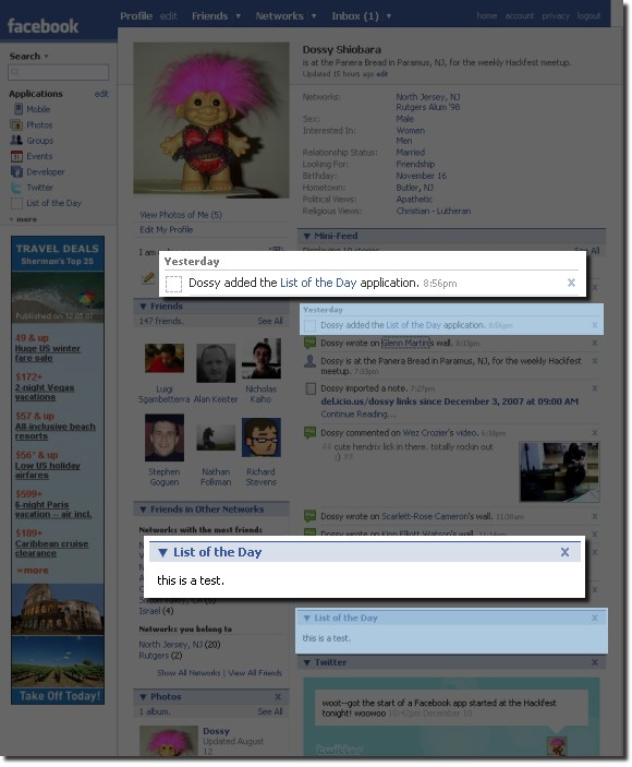 Facebook List of the Day app screenshot, 2007-12-11