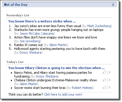 Facebook List of the Day app. screenshot, 2008-01-08