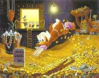 Scrooge McDuck swimming in his vault